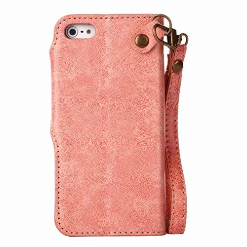 LEMORRY Apple iPhone 5 5s SE Custodia Pelle Portafoglio Guardare-Supporto Morbido interno TPU Silicone Bumper Protettivo Magnetico Slot per schede Cuoio Borsa Flip Cover per iPhone 5s, Retro Rosa (Ver Piuttosto rosa