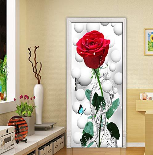 Knncch Rose Blume 3D Diy Tür Aufkleber Wohnkultur Moderne Wohnzimmer Schlafzimmer Tür Aufkleber Wandbild Pvc Selbstklebende Tapeten