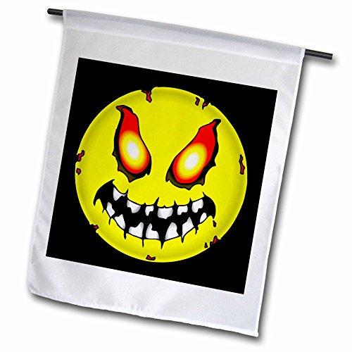 3dRose FL_54641_1 Gartenflagge Zombie Smiley Gesicht Halloween 1 auf Schwarz