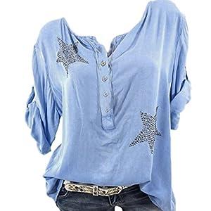 Hmeng Sommer Tops Shirts, Frauen beiläufige Lose T-Shirt Plus Größe Langarm Bluse Baumwolle Leinen Tops Tee