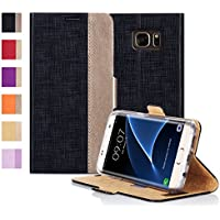 Custodia Galaxy S7 Edge,Galaxy S7 Edge Cover,Fyy® [Serie Ottime] Lussuosa Custodia del Cuoio Genuino Copertura (Miscele Carte)