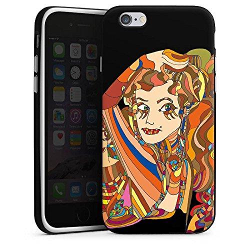 Apple iPhone 4 Housse Étui Silicone Coque Protection Fille Femmes Art Housse en silicone noir / blanc