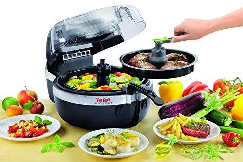 Tefal Actifry YV960120 - Freidora 2 en 1 para cocina sana, 2 zonas cocción, pantalla LCD digital, app con más recetas, capacidad 1,5 kg para 6 personas, incluye cuchara medidora de aceite y sal