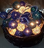 Handgemachte blaue Rattankugelschnurlichter für Patio, Hochzeit, Partei und Dekoration (20 Birnen) Innenlichter