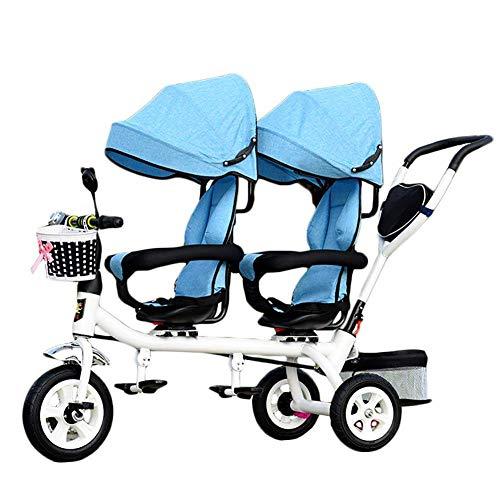 CHHMAELOVE Kinder 4 in 1 Trike doppeltes leichtes Kind 3-Rad-Dreirad mit Korb, Baby-Kleinkind-Zwillingssitze,Blue