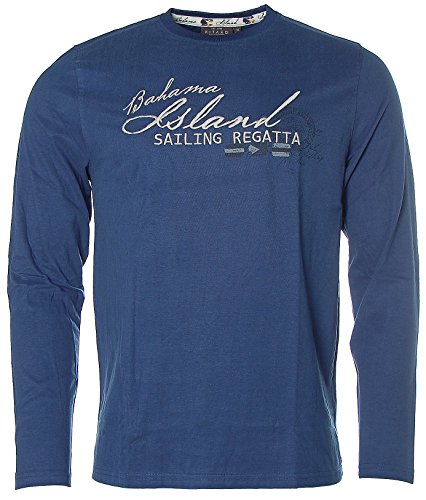 Kitaro Herren Langarm Shirt T-Shirt Rundhals Bahama Sailing Regatta Blau