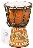 Kascha - 20cm Kinder Djembe Trommel Bongo Drum Buschtrommel Afrika-Style handgeschnitzt aus Mahagoni Holz Design 4