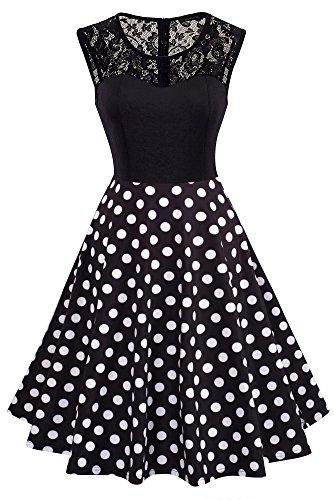 HOMEYEE Damen Elegant Spitze Rundhalsausschnitt Ärmel Mesh-A-Linie Kleid UKA008 (EU 44 (Herstellergroesse: XXL), Punkt)