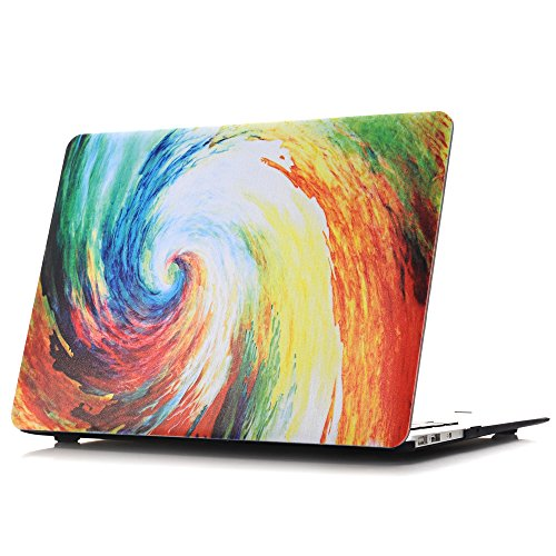 MacBook Air 11 Hülle - L2W Einzigartige Bunte Ölgemälde Serie Plastik Matte Glatte beschichtete Satin Feel Schützende Shell für MacBook Air 11.6 Zoll (Modell: A1370 / A1465),Bunte Strudel - Cs Satin