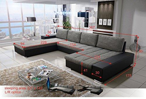 VERONA Wohnlandschaft mit Bettfunktion in U-Form Sofa mit Schlaffunktion