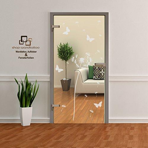 Glastür Aufkleber Tattoo Folie Glasdekor Fensterfolie Sichtschutz für alle Glasflächen Sichtschutzfolie für Türen Pusteblume einzeln oder als Set (1 Pusteblume ca. 140cm x 45cm)