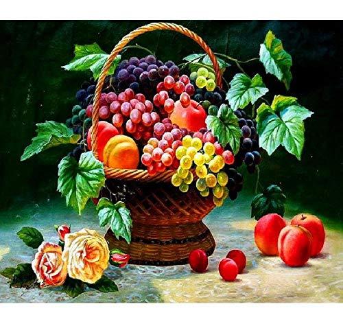 APCHYWELL Obstkorb Kinder Anfänger Zeichnung Durch Digitales Ölgemälde Leinwand Mit Pinsel Vorgedruckte Geschenke Wohnzimmer Kaffee Bar Wohnkultur DIY,40x50cm