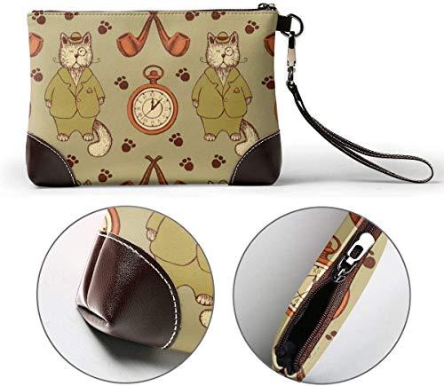 Skizze Katze im Anzug Rohr und Uhr Leder Handtasche, Geldbörse Wristlet Brieftasche Geldbeutel Wristlet Clutch Bag für Frauen
