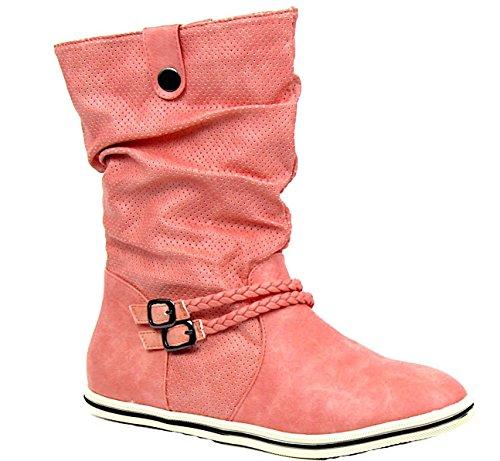Herbst/Winter Damen Schlup Stiefel High Top Stiefel Flach Boots Sport Freizeit Schuhe 37-42 Rosa