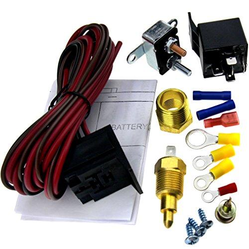 Mit 12-volt-kühler Thermostat (Relais 5pin Set 200-185Grad Thermostat Elektrolüfter Kühler Radiator Ventilator)