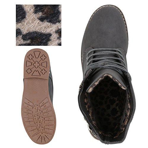 Leicht Gefütterte Damen Schnürstiefeletten Freizeit Schuhe Grau Steine