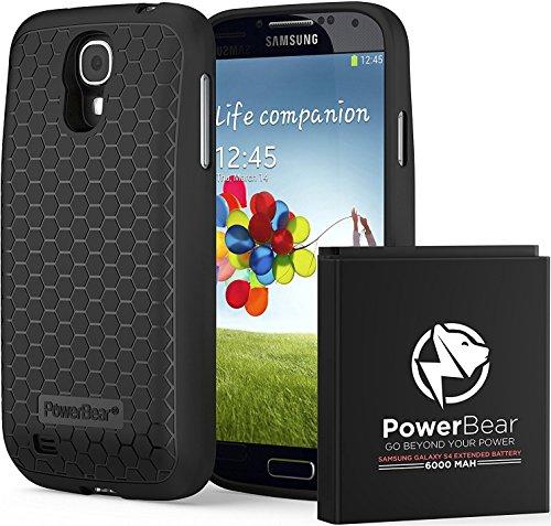 PowerBear Batterie Étendue Samsung Galaxy S4 [6000mAh] Couvercle Arrière et Boîtier de Protection (Jusqu'à 2.3X de Puissance de Batterie Supplémentaire) - Noir [24 Mois Garantie]