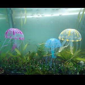 FLY-Shop Silikon Künstliche Quallen für Aquarium Ornament 3 Stück (Blau, Rosa, Gelb)
