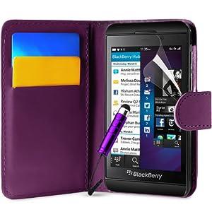 Supergets® Schlichte Einfarbige Hülle für BlackBerry Z10 Brieftasche in Lederoptik, Schale mit Karteneinschub, Etui, Buchstil Geldbörse, Mit Schutzfolie, Mini-Eingabestift ( Nicht geeignet für BlackBerry Z30 oder BlackBerry Q10 )