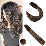 Ugeat Cheveux Natural Tape Hair Raide Remy Blonde Highlight Tissage Brésilienne en...