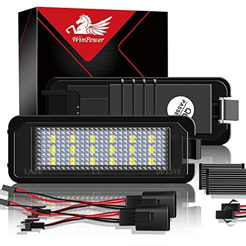 WinPower LED Kennzeichenbeleuchtung Glühbirnen Nummernschildbeleuchtung Lampe 3582 SMD mit CanBus Fehlerfrei 6000K Xenon kaltweiß zum Golf MK4 MK5 MK6 usw, 2 Stücke