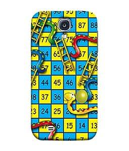 PrintVisa Designer Back Case Cover for Samsung Galaxy S4 Mini I9195I :: Samsung I9190 Galaxy S4 Mini :: Samsung I9190 Galaxy S Iv Mini :: Samsung I9190 Galaxy S4 Mini Duos :: Samsung Galaxy S4 Mini Plus (Pretty Cute Yellow blue red Snake Ladder)