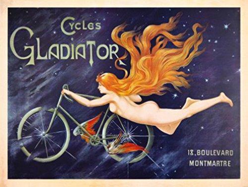 1art1 73050 Jugendstil - Cycles Gladiator, Nymphe Mit Rotem Haar Und Fahrrad, 1895, 2-Teilig Fototapete Poster-Tapete 240 x 180 cm -