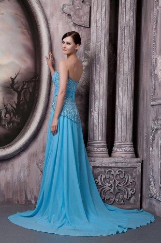 GEORGE BRIDE Neuester Entwurf Elegante Lange traegerlose Abendkleid  Eindrucks Blau