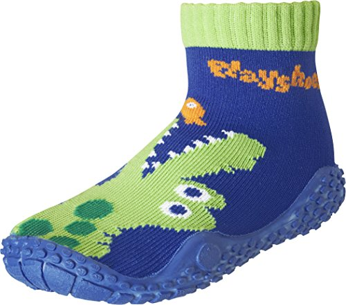 Playshoes Unisex-Kinder Aquasocke Krokodil Badeschuhe, Blau (Marine), 24/25 EU