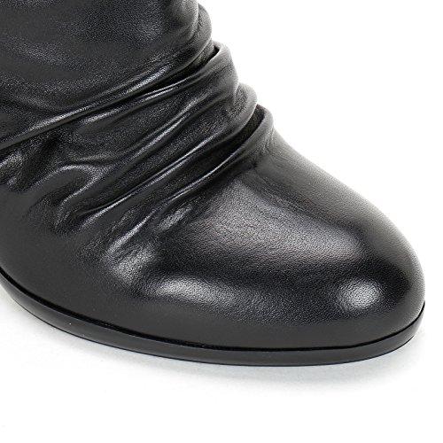 Scarpe Pieghe Elastico Da 9 Scarpe Cuoio Cm Alesya Nere Stivali Alti Tacco Con E YxEU1q8w