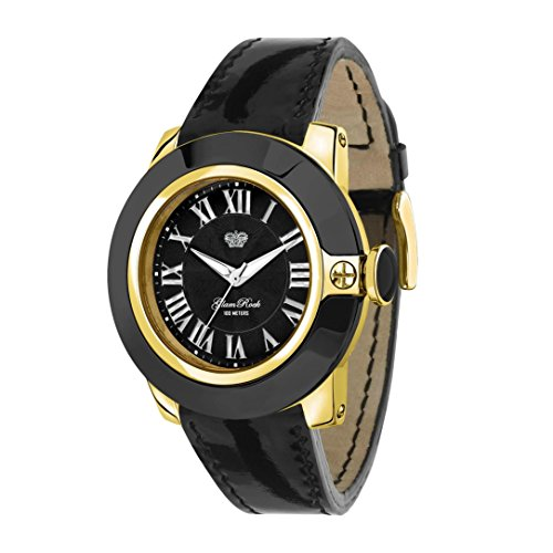 Glam Rock Women's Sobe 44mm Black Leather Band Gold Plated Case Swiss Quartz Analog Watch GR32025