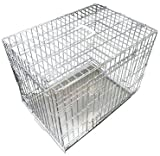 Ellie-Bo Dog Puppy Cage Folding 2 Door Crate with Non-Chew Metal Tray XXL 48-inch Silver