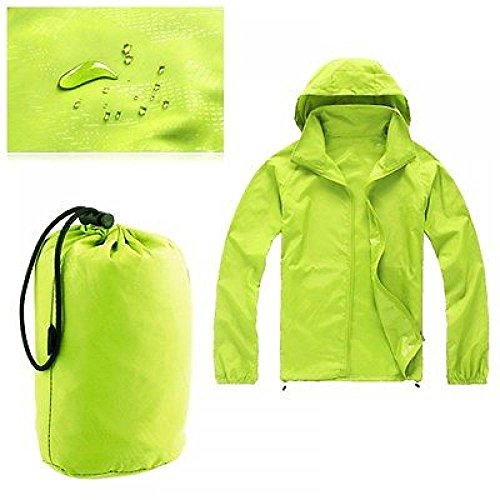 ZEARO Damen Herren Regenmantel Wetterschutzjacke Wasserdicht Winddicht Raincoat mit Kapuze Outdoor Sport Jacke Grün