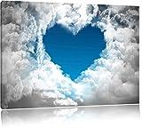 Romantisches Herz in den Wolken Schwarz/Weiß, Format: 120x80 auf Leinwand, XXL riesige Bilder fertig gerahmt mit Keilrahmen, Kunstdruck auf Wandbild mit Rahmen, günstiger als Gemälde oder Ölbild, kein Poster oder Plakat