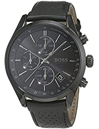 HUGO BOSS 1513474 Men Chronograph Quartz Watch with Leather Strap, Black