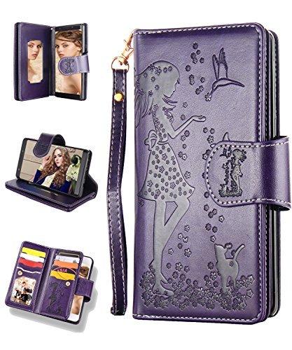 Samsung S9Plus Case, Galaxy S9Plus Wallet Case, flyee 9Card Slot PU Leder magnetische Schutzhülle mit Spiegel und Handschlaufe, Galaxy S9 Plus Nine Card-Purple - Wallet Skin Case