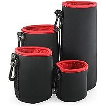 Belmalia - Juego de 4fundas de neopreno para objetivo, tamaño S + M + L + XL, impermeable, protección perfecta para sus objetivos, color negro y rojo