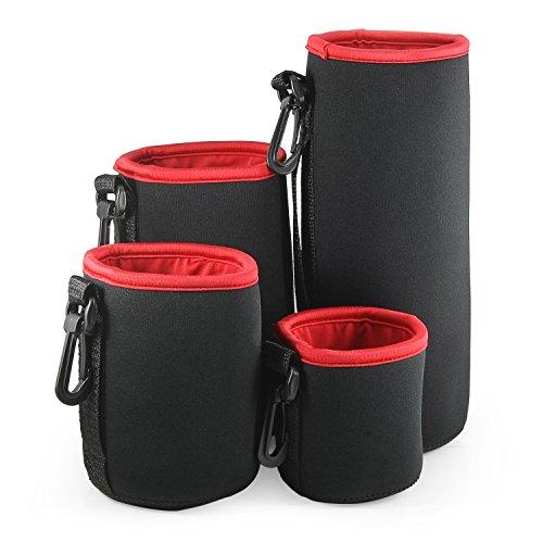 Belmalia 4 Objektiv-taschen Set aus Neopren Größe S+M+L+XL, wasserabweisend, perfekter Schutz für Ihre Objektive, Schwarz Rot