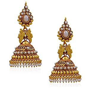 DESIGNER SOUTH STYLE JHUMKA EARRINGS FROM HYDERABAD JEWELS ATGOL1953