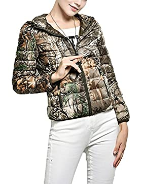 Laixing Buena Calidad Women's trees camouflage color slim short down jacket with hood Winter jacket