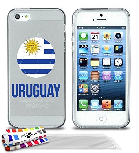 Ultraflache weiche Schutzhülle APPLE IPHONE 5S / IPHONE SE [Fußball Uruguay] [Lila] von MUZZANO + STIFT und MICROFASERTUCH MUZZANO® GRATIS - Das ULTIMATIVE, ELEGANTE UND LANGLEBIGE Schutz-Case für Ihr Grau + 3 Displayschutzfolien