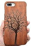PhantomSky Coque iPhone 7 Plus/8 Plus en Bois Véritable(Pas pour iPhone 7/8), [Série de Luxe] Fabriqué à la Main en Bois/Bambou Naturel Housse/Étui pour Votre Smartphone - Sapin de Noël Palissandre
