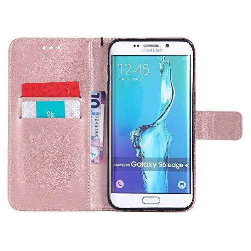 Für Samsung Galaxy S6 Edge Plus Case, Prägen Sonnenblume Magnetic Pattern Premium Soft PU Leder Brieftasche Stand Case Cover mit Lanyard & Halter & Card Slots ( Color : Green ) Rose Gold
