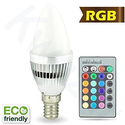 Kwazar Leuchte Leuchtmittel LED SMD RGB Lampe 3W E14 C35 mit Fernbedienung, Farbwechsel, Dimmbar von Kwazar Leuchte - Lampenhans.de