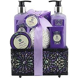 BRUBAKER Cosmetics Bade- und Dusch Set Lavendel Magnolien Duft - 7-teiliges Geschenkset in dekorativem Korb