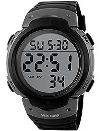 SKMEI 1068 Reloj de pulsera digital unisexo de moda con dial grande Reloj Deportivo de Silicona Correa Impermeable(plata)