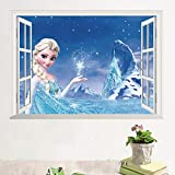 Kibi Frozen Disney Stickers Muraux Reine des Neiges Salon Amovible Stickers Mural Elsa, Chambre Bebe Autocollants Frozen, Stickers Muraux Chambre Enfant Fille Princesse