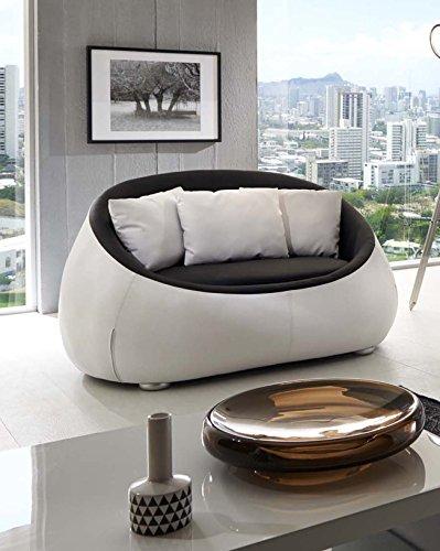 SAM Design Sofa schwarz - weiß Couch Rondo 2 Sitzer Kissen inklusive rund pflegeleichte Oberfläche
