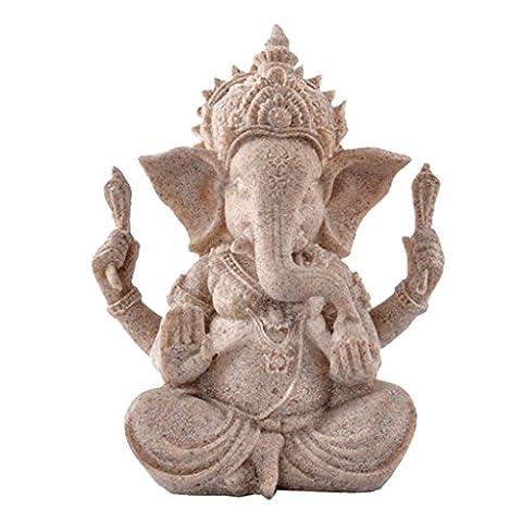 Ganesha Bouddha Elephant Statue de Grès Sculpture Figurine Fait à la (Religioso Giardino Statua)