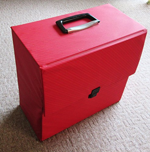 VINTAGE LP RECORD CASE STORAGE BOX VINYL RETRO CARRY CASE , RED , 80'S -